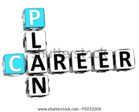 3D Plan Career Crossword on white background