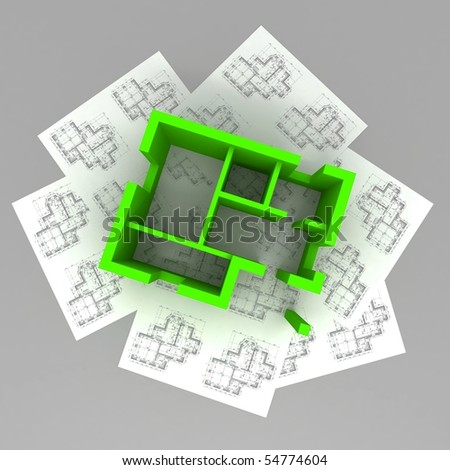 Architecture Blueprints 3d 3d plan on top of architecture blueprints stock photo 54774604