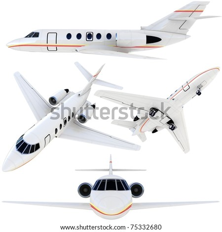 3d plane collection isolated on white background
