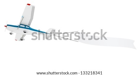 3d plane pulling advertisement banner isolated on white background