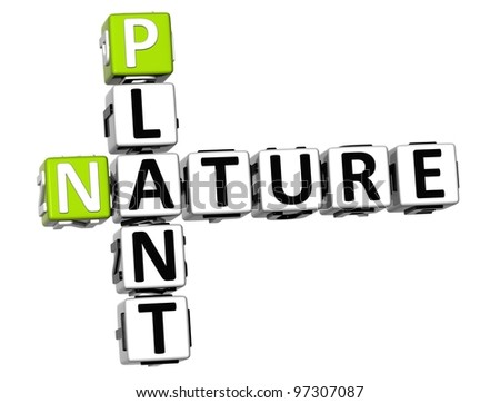 3D Plant  Nature Crossword text over white background - stock photo