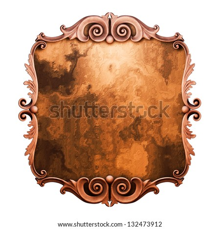 3d  plaster frame, the sculptural form on a white background - stock photo