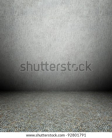 3d plaster wall and pavement, grey texture interior