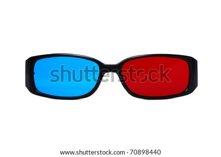 3d plastic glasses isolated on white