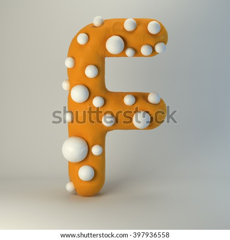 3d Plasticine handmade font. Cute cartoon children's style figures with white polka dots. Bright orange uppercase letter F, isolated on white background.
