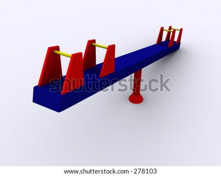 3d PlaySeesaw - stock photo