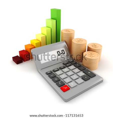 3d pocket calculator and coins, on white background