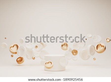 3D podium, display, background. Beige, white pedestal with gold levitating hearts. Beauty, cosmetic product presentation. Minimal pastel   showcase. Abstract, studio, love, valentines day 3D render.