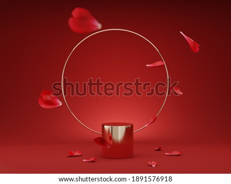 3D podium, display, background. red, gold pedestal, round rim. Rose, flower petals levitating. Beauty, cosmetic product presentation. Minimal stage. Abstract, love, valentines day, studio 3D render.