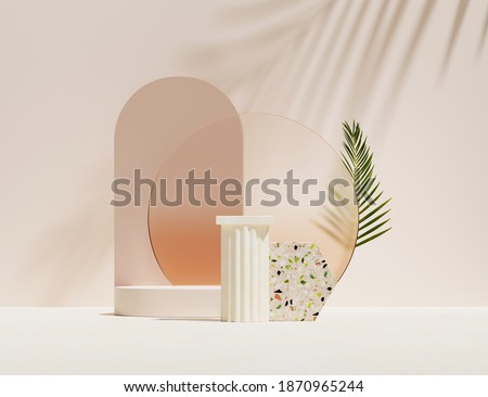 3D podium display, beige background. Summer pastel pedestal with green and orange terrazzo stone. Beauty product, cosmetic promotion with palm leaf shadow. Tropical studio template. Abstract 3D render