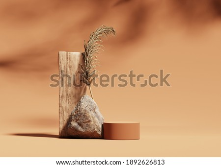 3D podium display on beige, background with stone, wood and dry pampas grass. Brown cosmetic, beauty product promotion rock pedestal with shadow.  Natural showcase. Abstract minimal studio 3D render