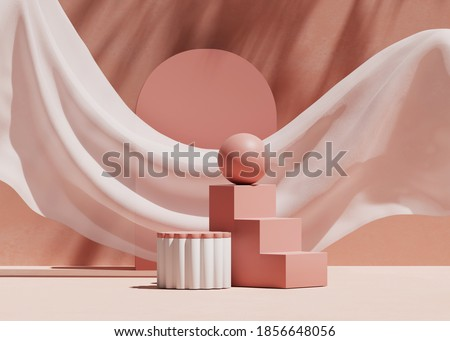 3D podium display, pastel pink background. Art deco steps and geometric shapes. Nature palm shadow, minimal, beauty product presentation. White  pedestal advertisement. Studio, abstract 3D render