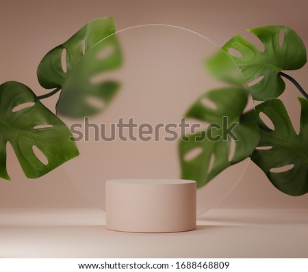 3D podium display with monstera deliciosa and frosted glass copy space. Minimal beige background with pedestal, green plant leaves. Trendy natural product promotion banner. Simple tropical 3d render