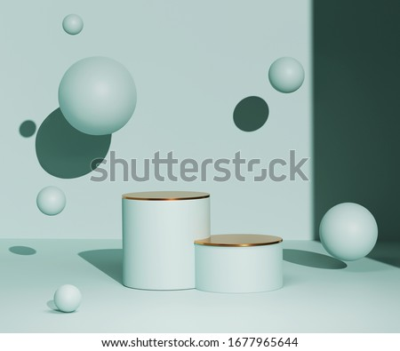 3D podium on mint blue pastel background and levitating balls. Summer Minimal holiday product promotion platform mockup with gold. Sunny 3D render  display and copy space. Banner trendy illustration