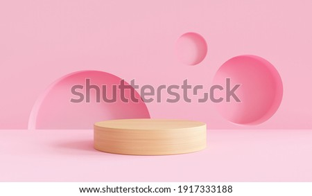 3D podium render vector of pink geometric background or texture. Bright pastel podium or pedestal backdrop. Blank minimal design concept. Stage for ceremony on pink pedestal background 3d render