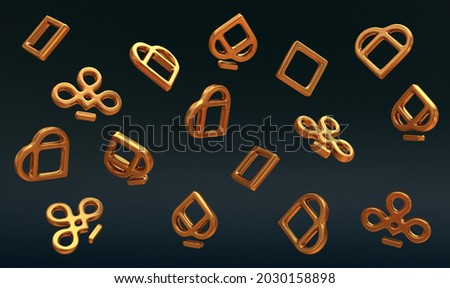 3D poker card suits - hearts, clubs, spades and diamonds. Casino gambling 3d render 3d rendering illustration. gold objects.