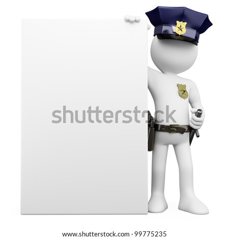 3D Police with a blank poster. Rendered at high resolution on a white background with diffuse shadows.