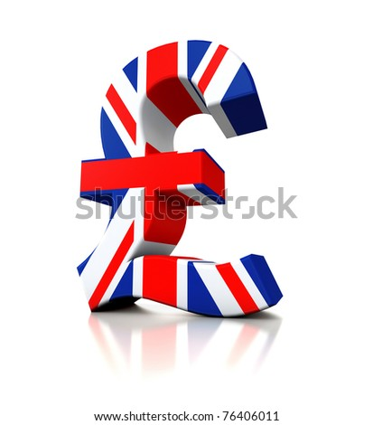 3d Pound in flag colors isolated on white background