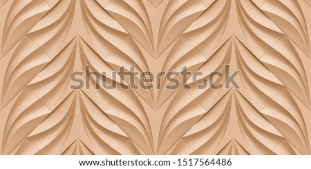 3D premium wallpaper of sand color modern geometric tiles. Realistic seamless texture of high quality.