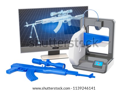 3d printed firearms concept, 3D rendering isolated on white background
