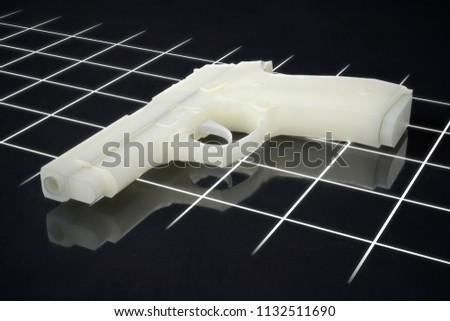 3d printed gun pistol manufactured using FLM and SLA processes 3d illustration