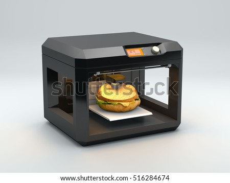 3D printer print burger on a white background 3d rendering