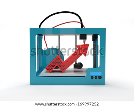 3D printer with red arrow up