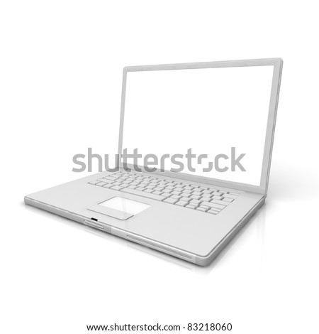 3D professional Laptop isolated on white background with empty space.
