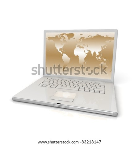 3D professional Laptop isolated on white background with worldmap.