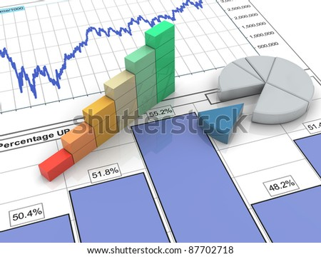 3d progress bar and pie chart on financial analysis report