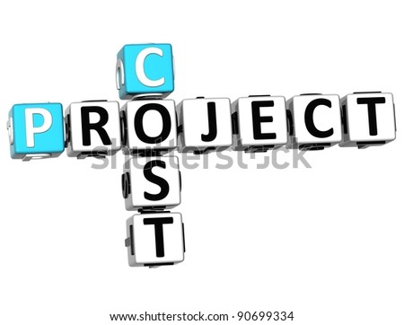 3D Project  Cost Crossword on white background