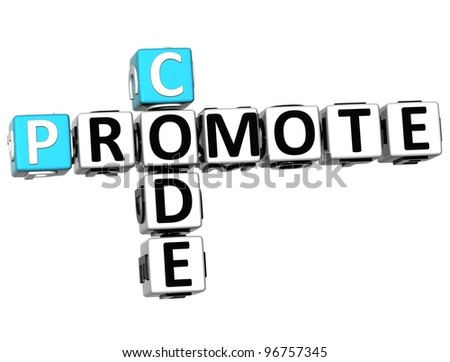 3D Promote Code Crossword cube words on white background