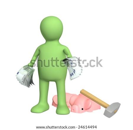 3d puppet, broken a hammer a piggy bank