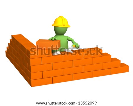 3d puppet - builder, building a brick wall. Object over white