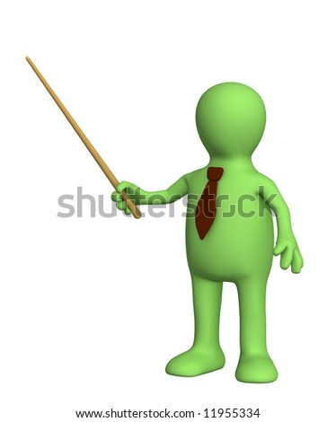3d puppet - businessman in a tie with pick. Objects over white