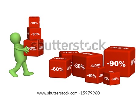 3d puppet carrying boxes. Object over white