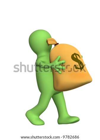 3d puppet, carrying in hands the big bag of money. Objects over white