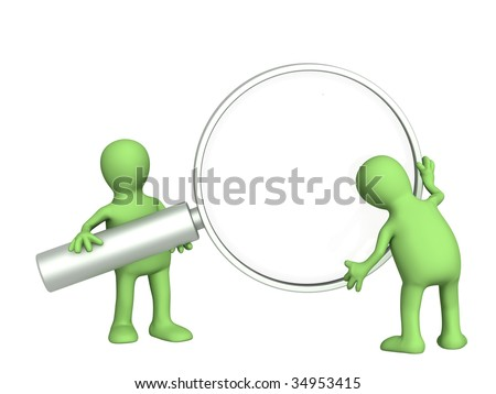 3d puppet, holding in hands the magnifier - stock photo