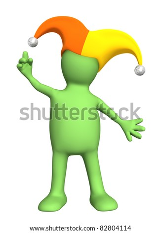 3d puppet - joker, in a hat with bells. Isolated over white