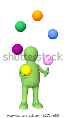 3d  puppet, juggling with color balls. Isolated over white