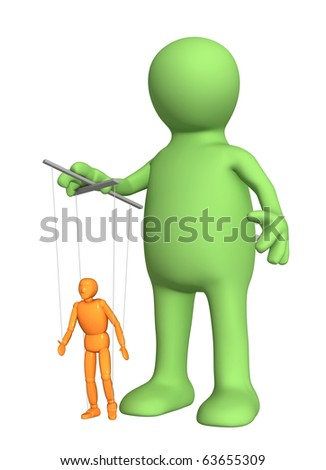 3d puppet, managing a small doll. Isolated over white