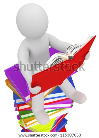 3D puppet on a pile of books, isolated on white background