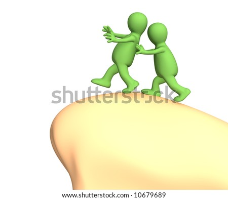 3d puppet, pushing partner to edge of a precipice. Objects over white