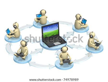 3d puppet, sitting with a laptop. Isolated over white