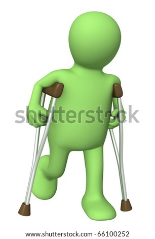 3d puppet with crutches. Isolated over white