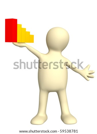 3d puppet with diagram. Isolated over white