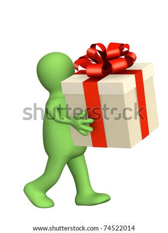 3d puppet with gift. Isolated over white