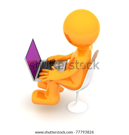 3d puppet working on laptop. Isolated on white background