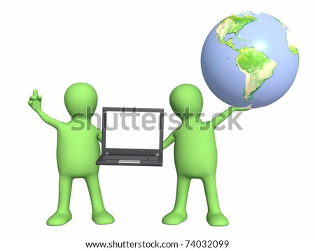 3d puppets with laptop and Earth. Isolated over white - stock photo