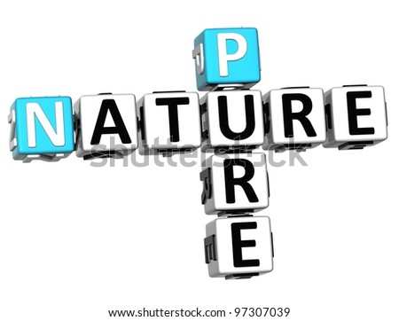 3D Pure Nature Crossword text over white background